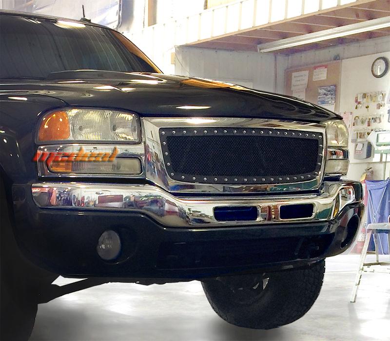 Gmc sierra 1500 2500 3500 stainless steel black w silver rivet mesh grille 03 06 ebay