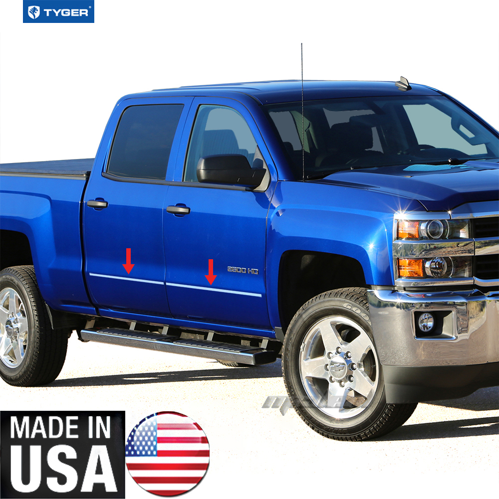 Gmc Canyon Extended Cab Chrome Body Side Molding 2015: TYGER For 14-15 Silverado/Sierra Double Cab Body Side