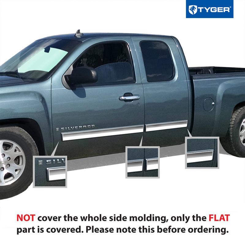 TYGER For 07-08 Chevy Silverado Ext Cab Body Side Molding
