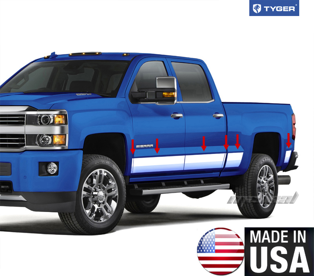 Gmc Canyon Extended Cab Chrome Body Side Molding 2015: TYGER For 14-2015 GMC Sierra Crew Cab 5.8' Bed Rocker
