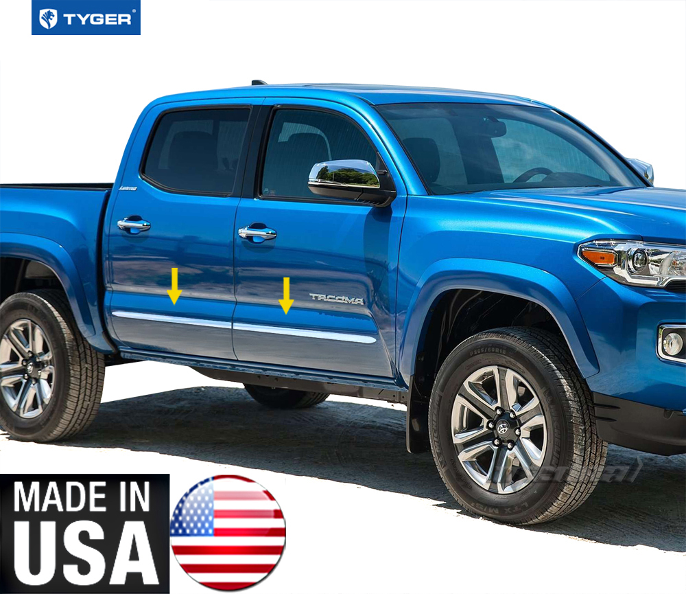tyger for 2016 toyota tacoma double cab 2 door body side molding trim 4pc ebay. Black Bedroom Furniture Sets. Home Design Ideas