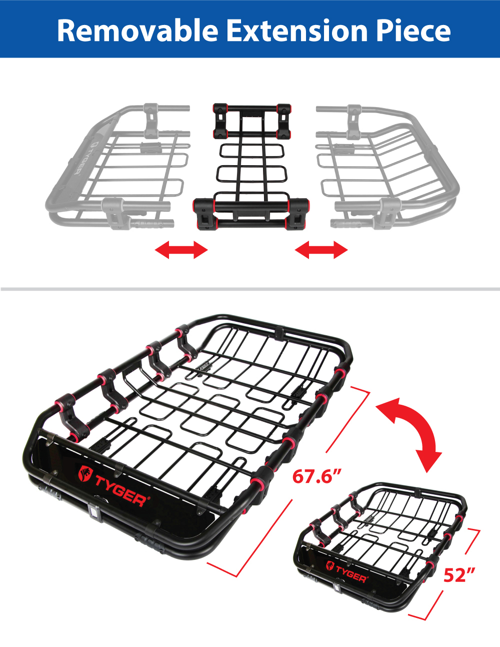 Tyger Extendable Super Duty Roof Top Cargo Basket Luggage
