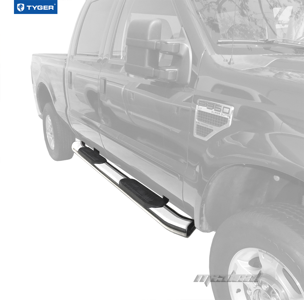 """2002 Ford F250 Super Duty Crew Cab Interior: TYGER 6"""" Oval Bent Side Step Bars Stainless For 99-15 Ford"""