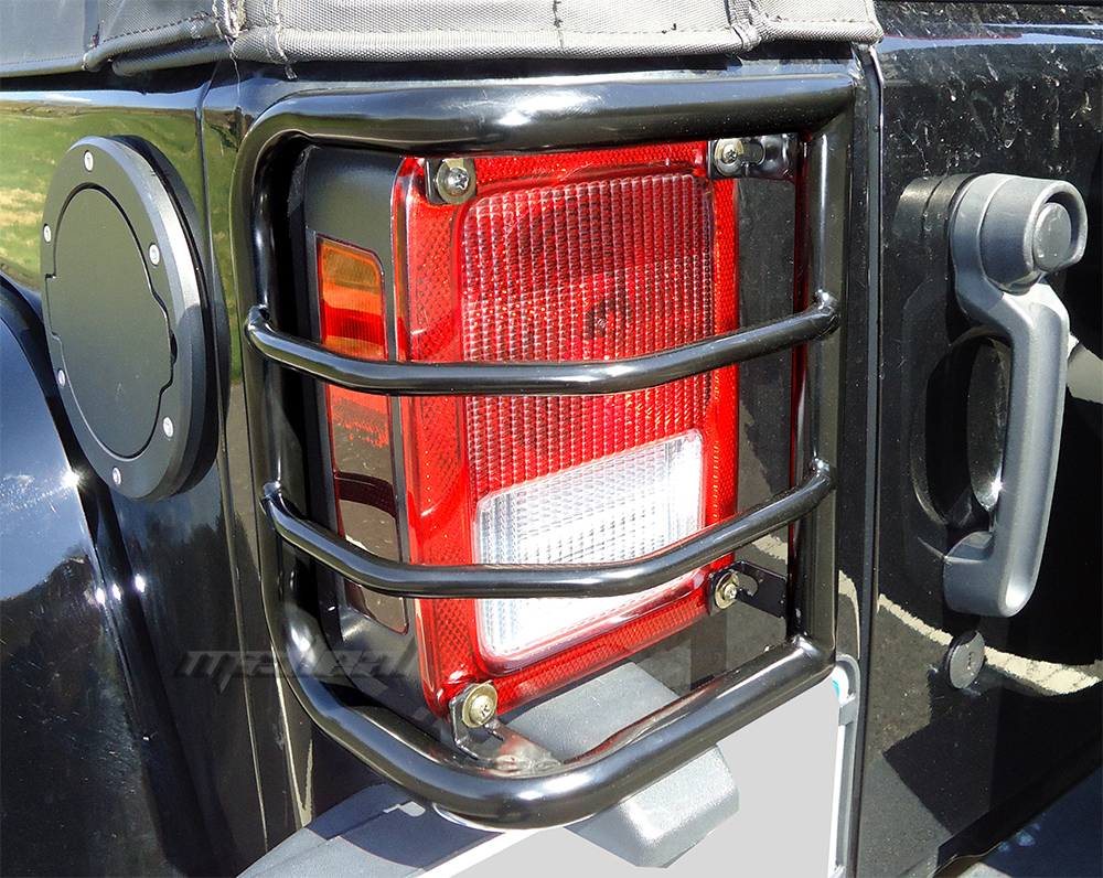 2007 2016 jeep wrangler brand new wrap around tail light guards black. Black Bedroom Furniture Sets. Home Design Ideas